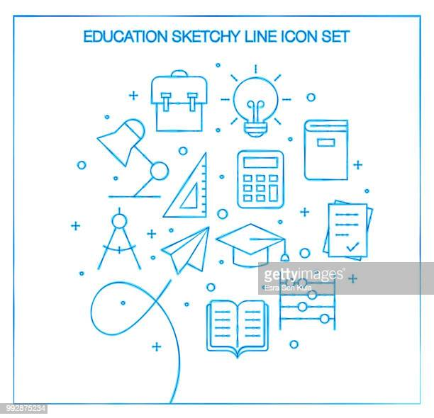Education Sketchy Line Icon Set