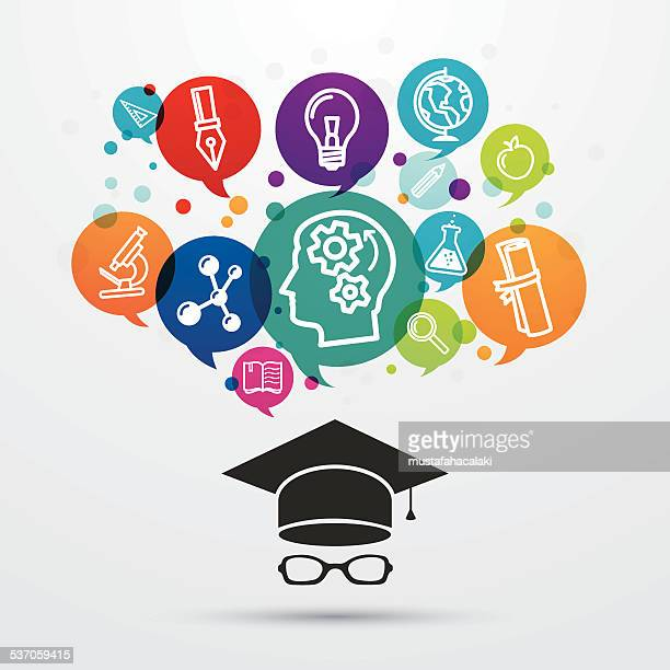 Education theme background with hat and icons