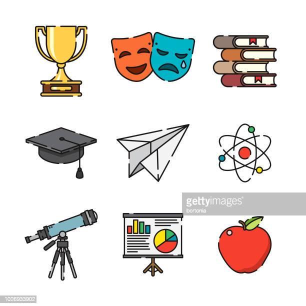 education thin line icon set - elementary school stock illustrations
