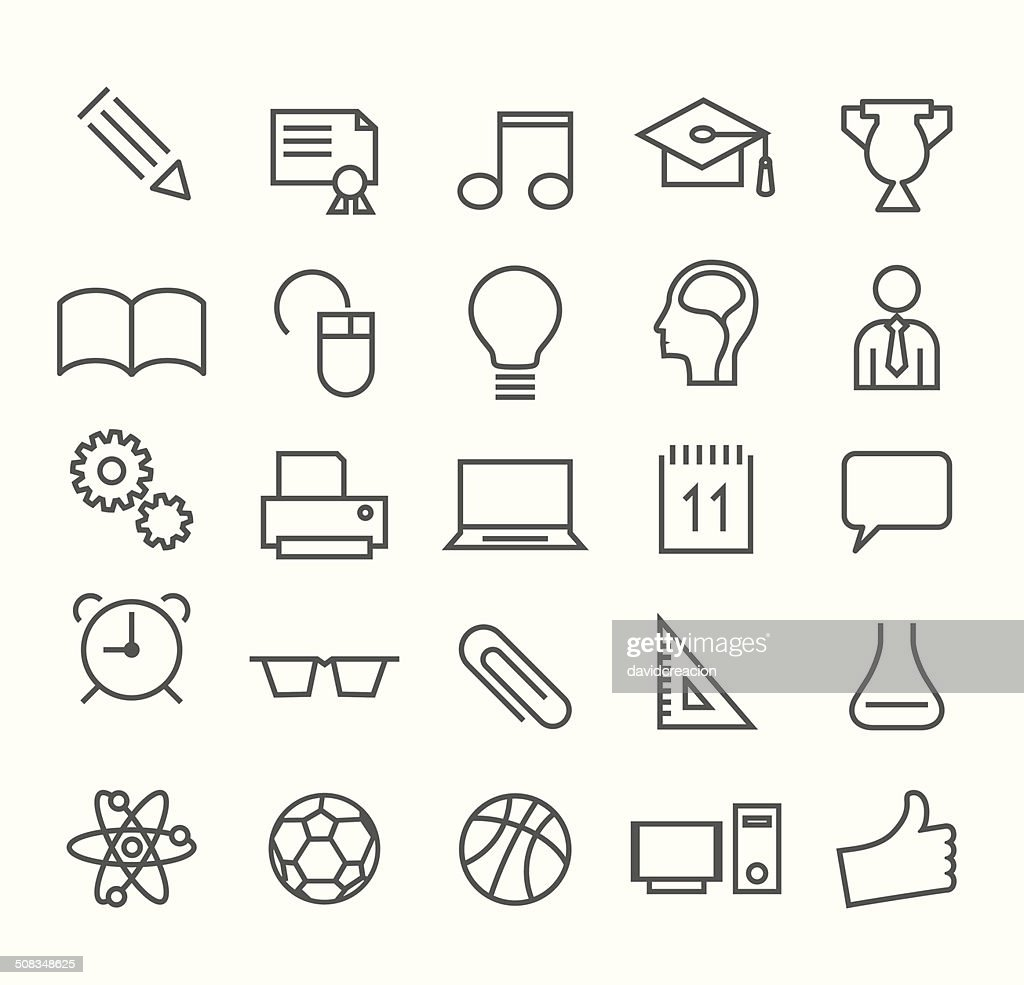 Education Thin Line Icons on White Background.