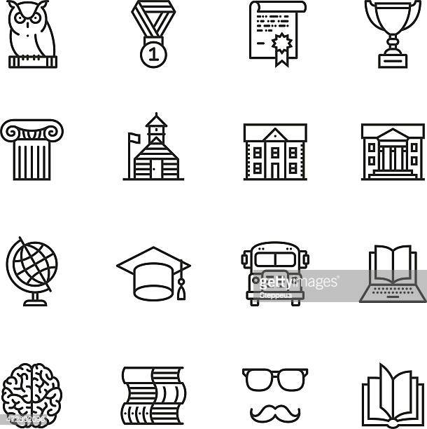education thin line icons - library stock illustrations