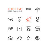 Education - Thin Single Line Icons Set