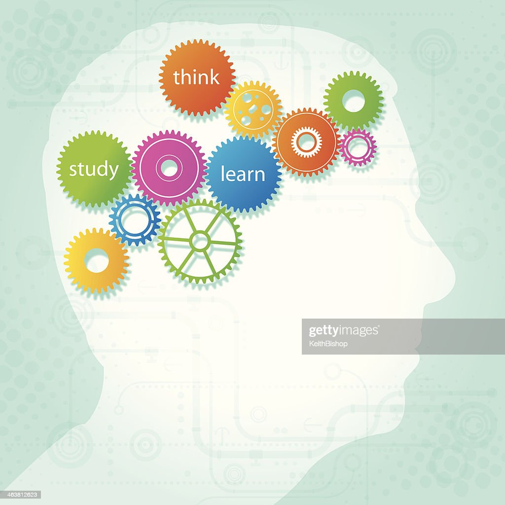 Education - Think, Study, Learn Gear Concept : stock illustration