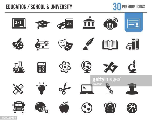 education vector icons // premium series - library stock illustrations