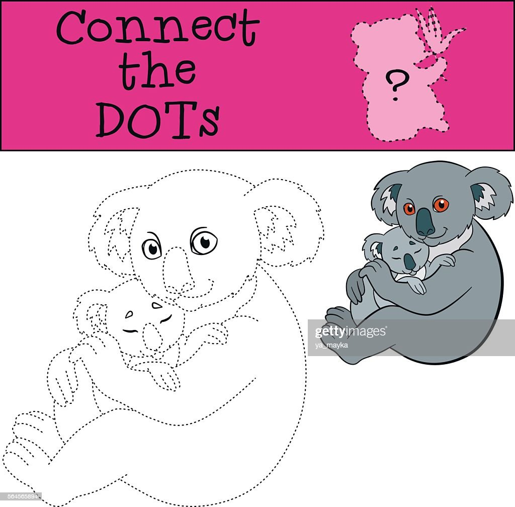 Educational game: Connect the dots. Mother koala with her baby.