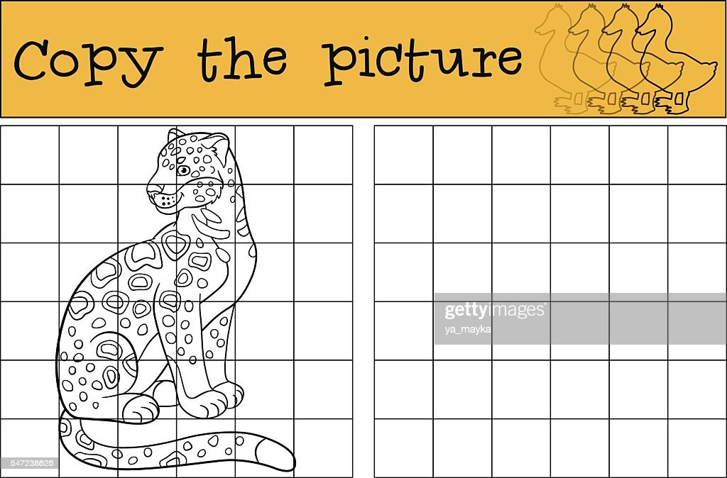 Educational game: Copy the picture. Cute spotted jaguar smiles.