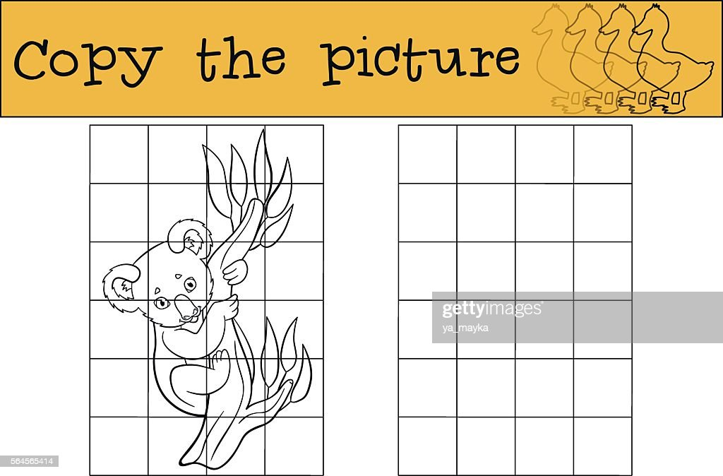 Educational game: Copy the picture. Little cute baby koala.