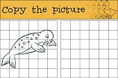 Educational game: Copy the picture. Little cute baby seal sleeps