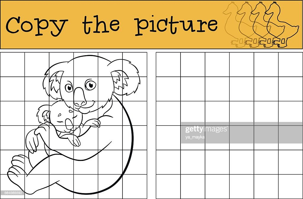 Educational game: Copy the picture. Mother koala with her baby.