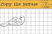 Educational game: Copy the picture. Mother seal with her baby.