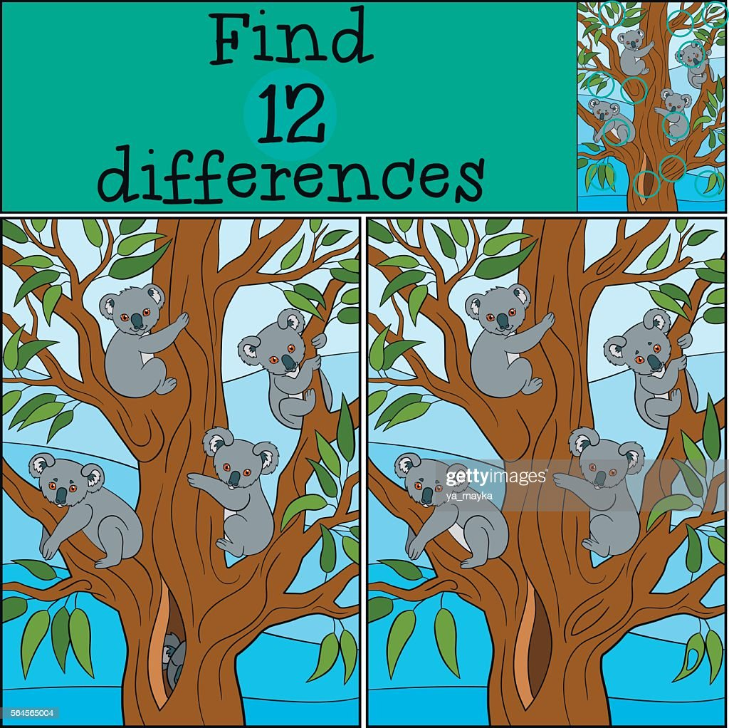 Educational game: Find differences. Four koala babies smile.