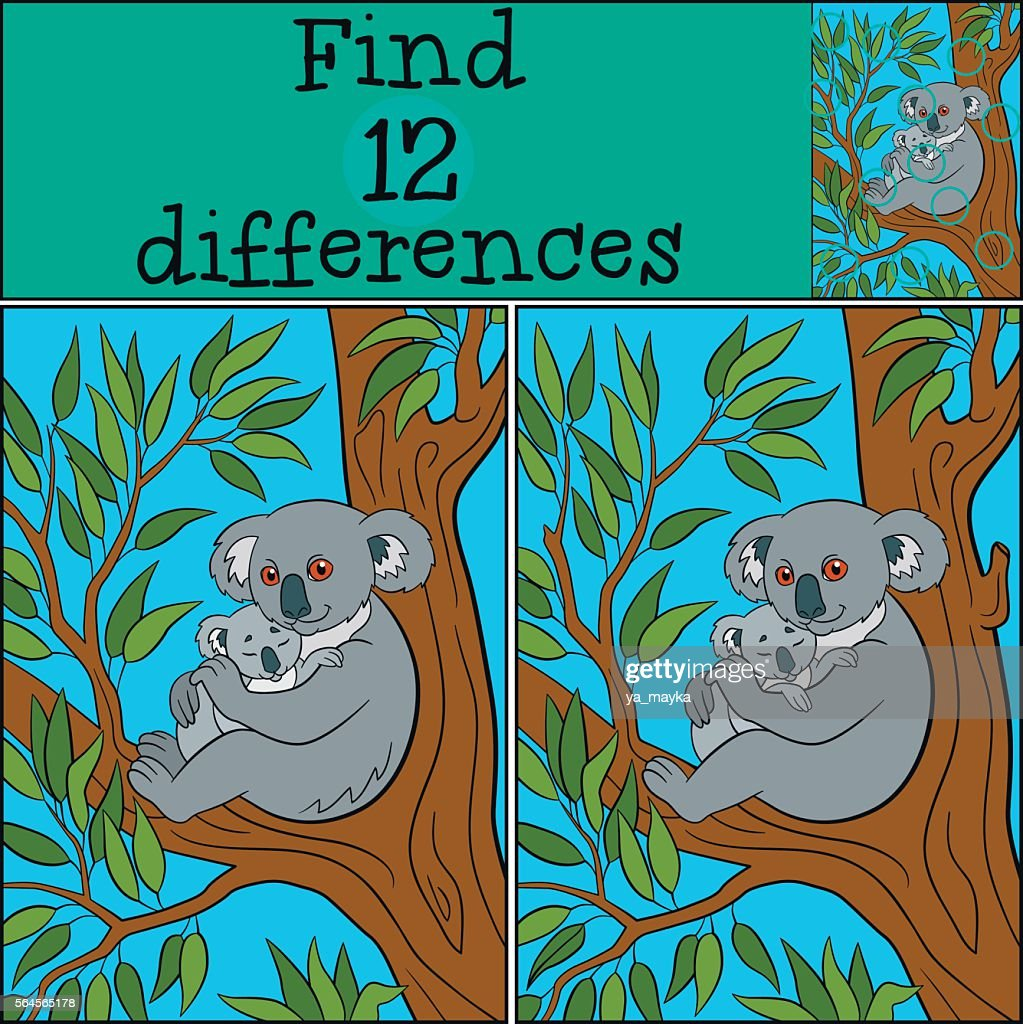 Educational game: Find differences. Mother koala with her cute b