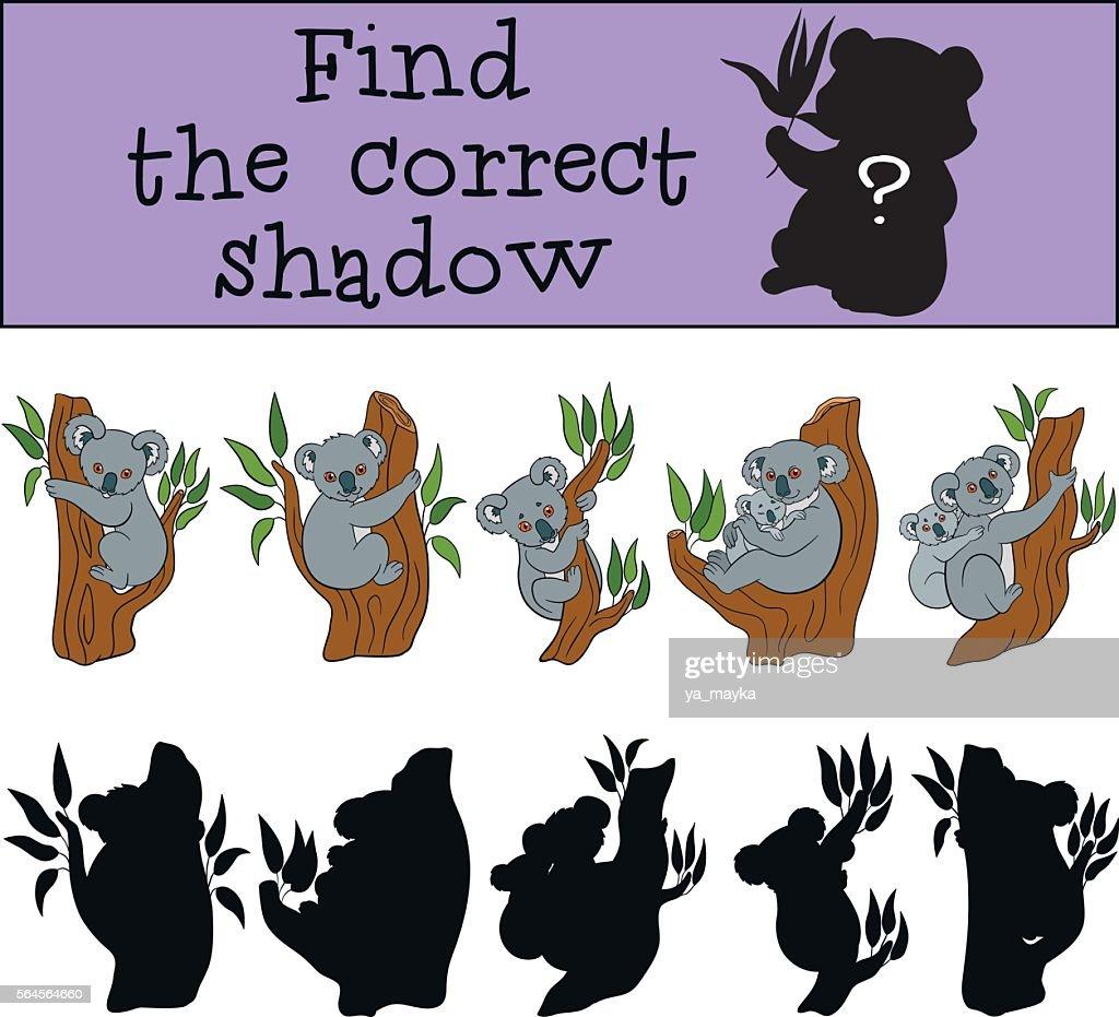 Educational game: Find the correct shadow. Little cute koala.