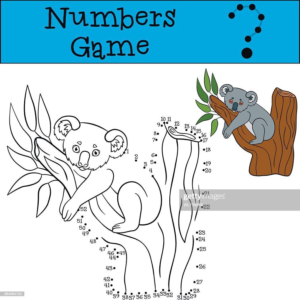 Educational game: Numbers game. Little cute baby koala.