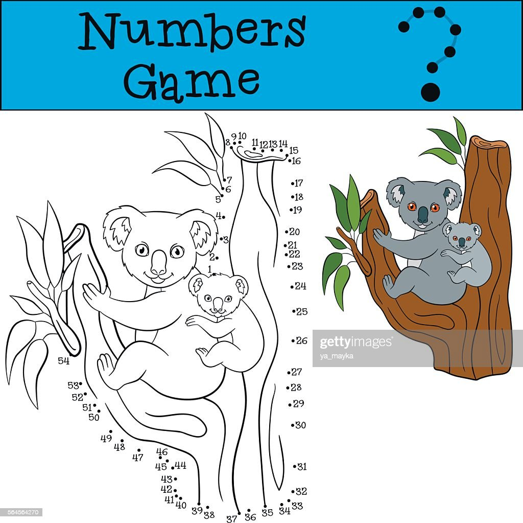 Educational game: Numbers game. Mother koala sits on the tree.