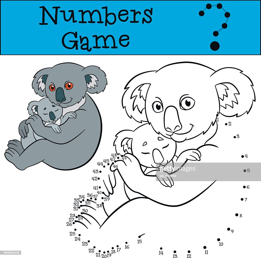 Educational game: Numbers game. Mother koala with her baby.