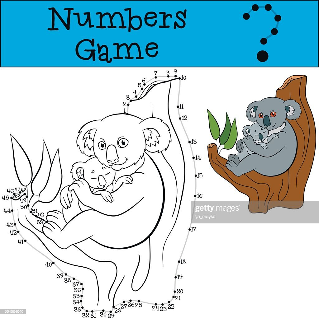 Educational game: Numbers game with contour. Mother koala with b