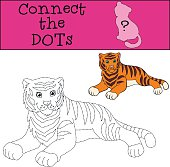 Educational games for kids: Connect the dots. Cute tiger smiles.