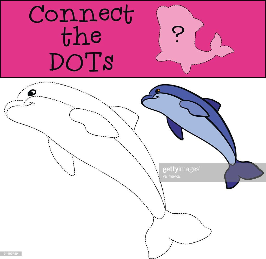 Educational games for kids: Connect the dots. Little cute dolphin