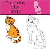 Educational games for kids: Connect the dots. Little cute tiger