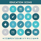 Educational icon set. Multicolored flat buttons