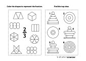 Educational math activity page with two puzzles and coloring - fractions, spatial skills