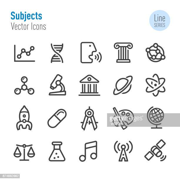 educational subjects icons - line series - history stock illustrations