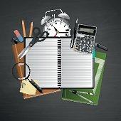 Eduction Concept, on black Chalkboard school supplies, Vector Composition.