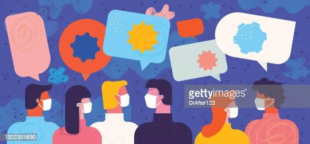 illustrazioni stock, clip art, cartoni animati e icone di tendenza di comunicazione efficace durante il coronavirus - giovane adulto