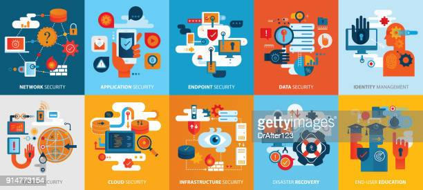 effective cyber security icons square background horizontal - threats stock illustrations