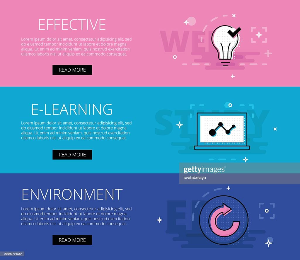 Effective E-learning Environment. Vector banners template set