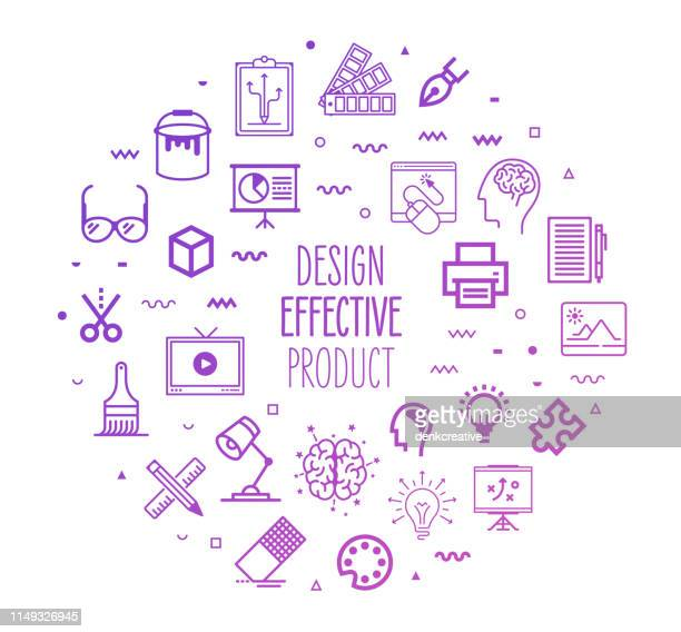 effective product designs outline style infographic design - drawing artistic product stock illustrations