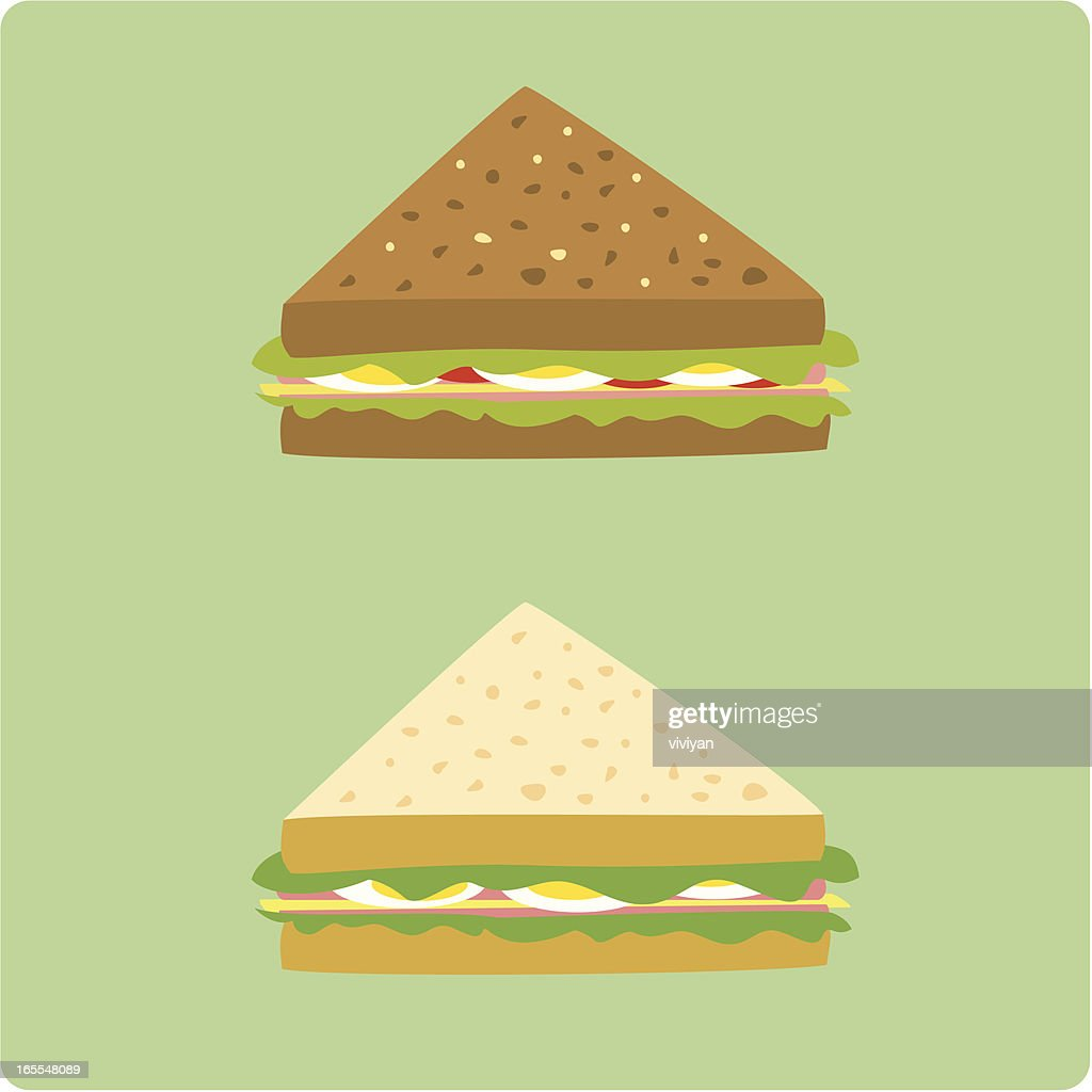 egg and ham sandwiches : stock illustration