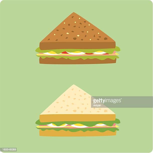 ilustrações, clipart, desenhos animados e ícones de ovos e sanduíches de presunto - sanduíche
