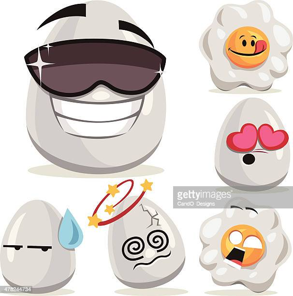 egg cartoon set a - anthropomorphic foods stock illustrations, clip art, cartoons, & icons