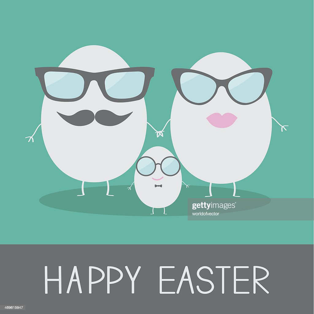 Egg easter family with lips, mustaches and eyeglasses.
