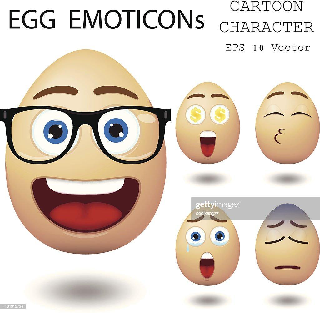 Egg emoticon cartoon character eps 10 vector