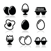 Egg, fried egg, egg box icons set