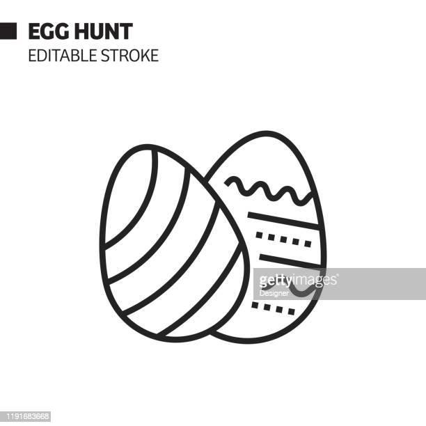 ilustraciones, imágenes clip art, dibujos animados e iconos de stock de icono de línea de caza de huevos, ilustración de símbolo vectorial de esquema. píxel perfecto, trazo editable. - roscadepascua
