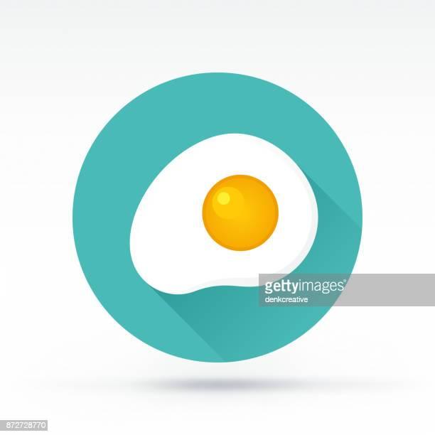 ilustrações, clipart, desenhos animados e ícones de ícone de ovo - frito