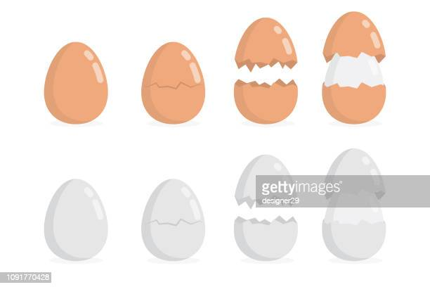 egg illustration on white background and flat design. - cracked stock illustrations