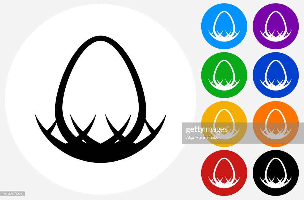 egg in nest icon on flat color circle buttons ベクトルアート getty