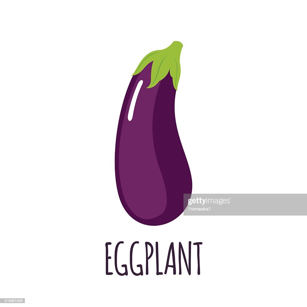 Eggplant icon in flat style on white background