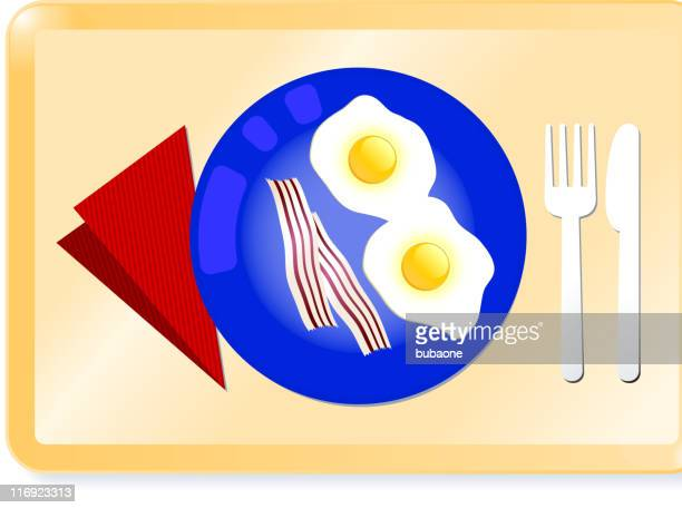 eggs and bacon breakfast on a tray - plastic plate stock illustrations