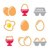 Eggs icons, fried egg, egg box - breakfast icons set