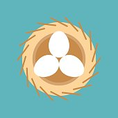 eggs in bird nest, easter and spring symbol, flat design icon