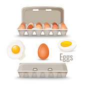 Eggs in shell inside cardboard container and cooked