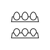 eggs tray black icon on white background