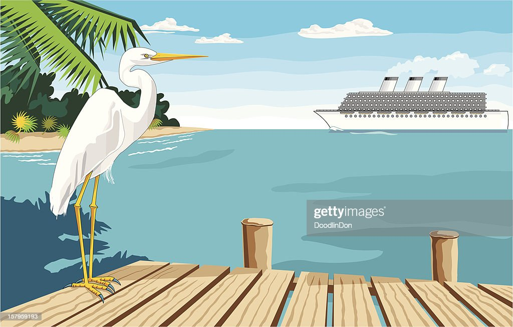 Egret on Dock Near Ocean with Cruise Ship in Background