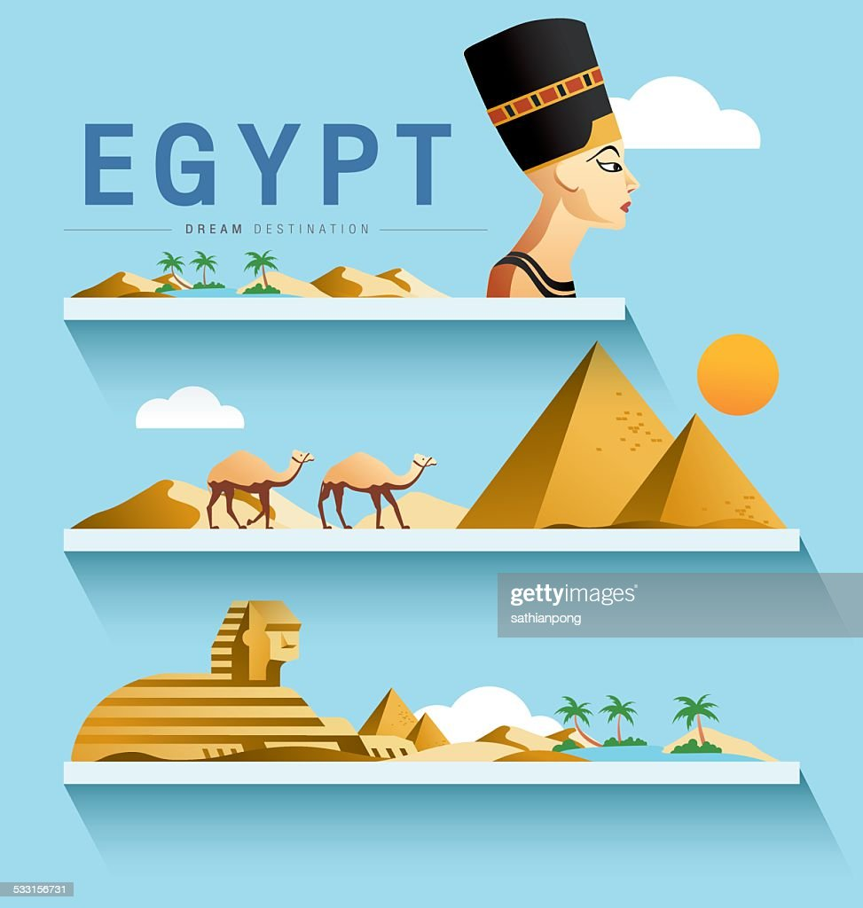 Egypt and Pyramid ,Sphinx ,Destination ,vector set
